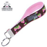 WRISTLET KEYCHAIN - PINK STRAWBERRIES ON CHOCOLATE BROWN